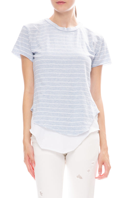 Frank & Eileen Tee Lab Round Hem Blue and White Striped Jersey Tee