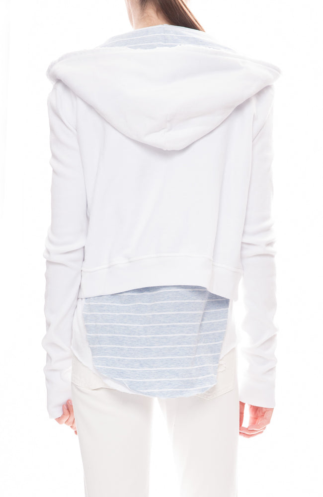 Zip Up Hoodie with Striped Hood
