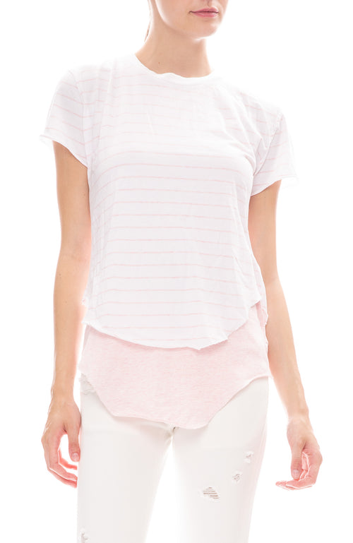 Frank & Eileen Tee Lab Round Hem White / English Rose Striped Jersey Tee