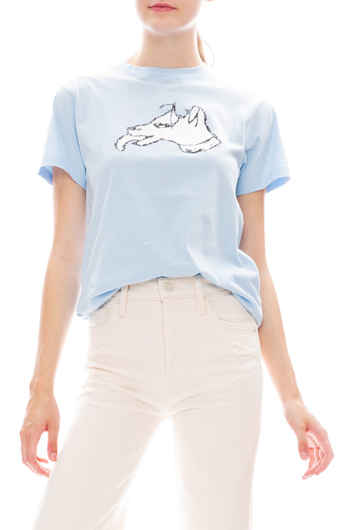 Bella Freud Color Block Dog T-Shirt in Pale Blue