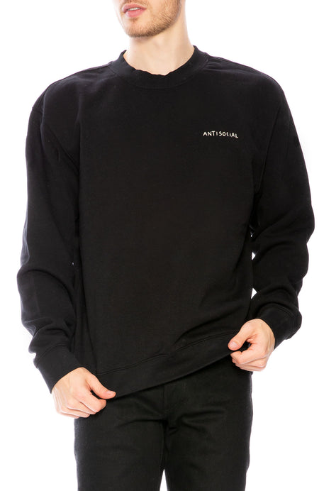 Antisocial Embroidered Crew Neck Sweatshirt