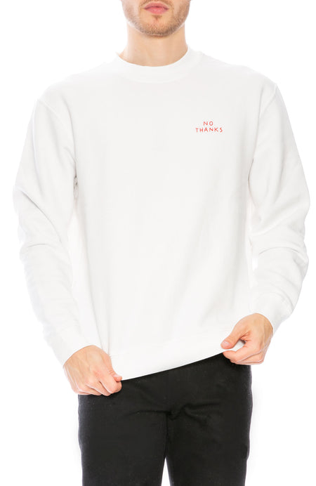 No Thanks Embroidered Crew Neck Sweatshirt