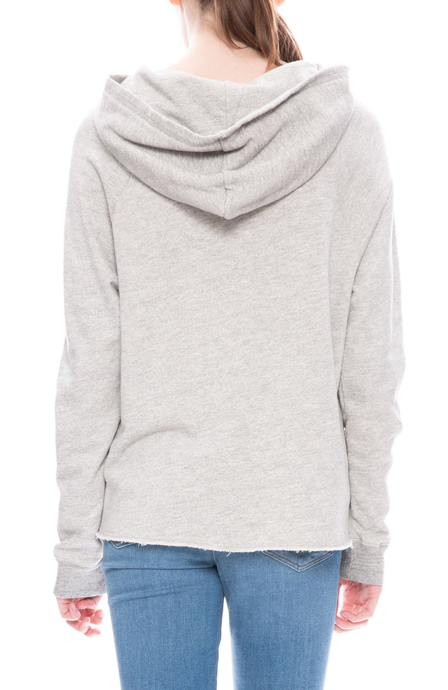 Cropped Hoodie with Raw Hem