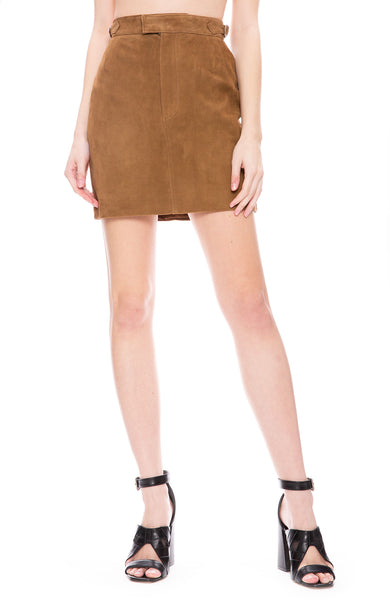 Officine Generale Suede Mini Skirt at Ron Herman