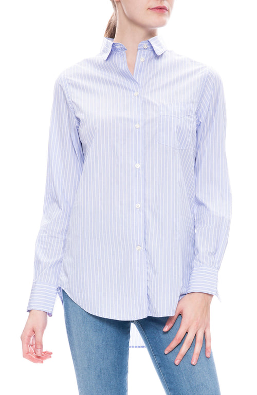 Officine Generale Striped Button Down Poplin at Ron Herman
