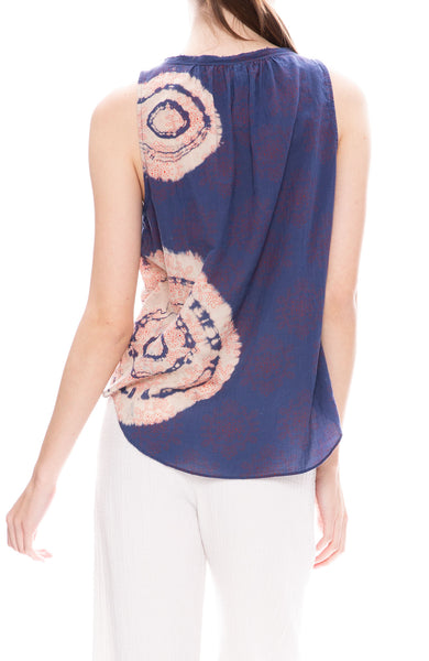 Tie Dye Block Print Shirred Sleeveless Top