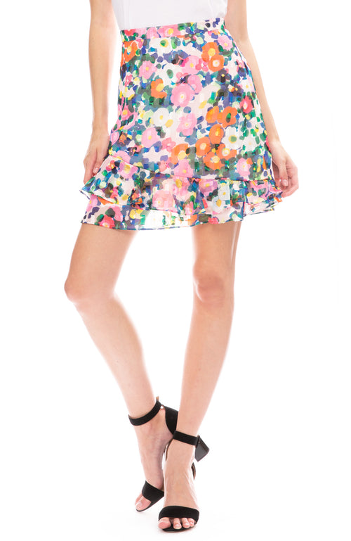 Saloni Cece Mini Skirt in Pink Rosette Print