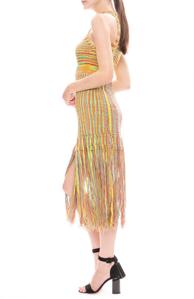 Sleeveless Long Fringe Dress