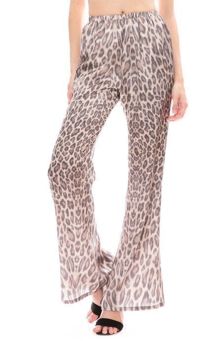 Silk Flare Leopard Pant