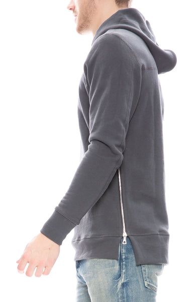John Elliott Mens Hooded Villian Sweatshirt in Charcoal