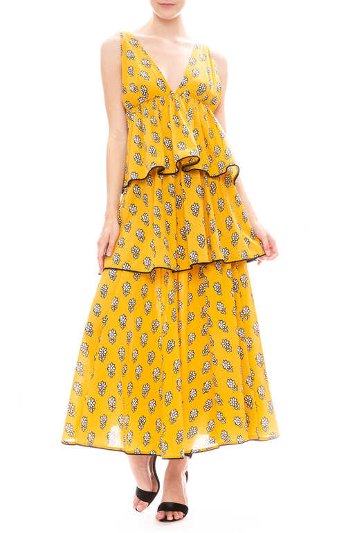 Rhode Leela Yellow Floral Print Tier Maxi Dress