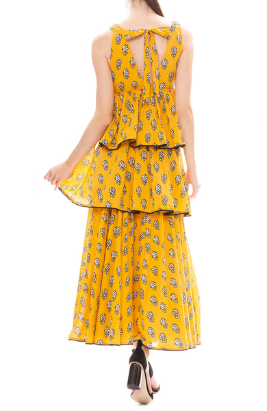 Rhode Leela Tier Maxi Dress in Yellow Flower