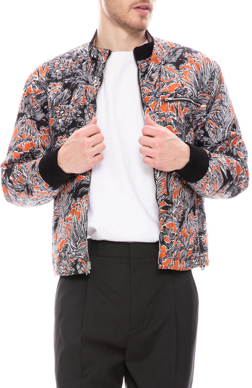 3.1 Phillip Lim Mens Shrunken Blouse Jacket in Palm Tree Floral Rust