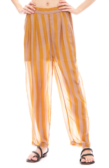 Sheer Stripe Silk Pants