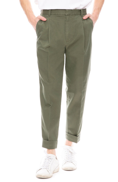 3.1 Phillip Lim Mens Pleated Taper Trouser Pants in Fern Green