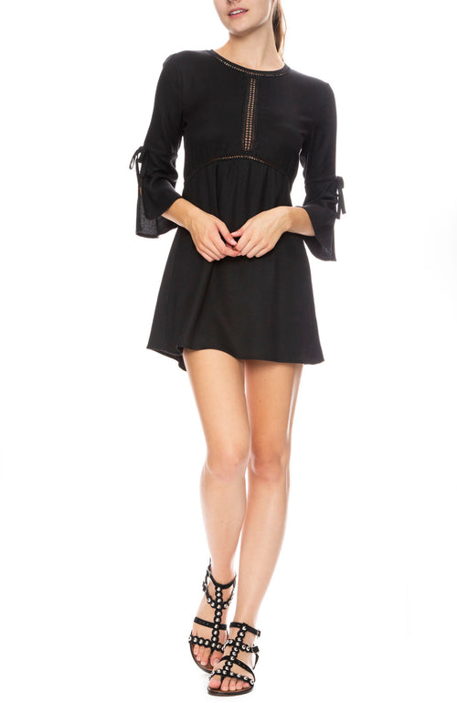 On The Go Lace Inset Split Sleeve Dress