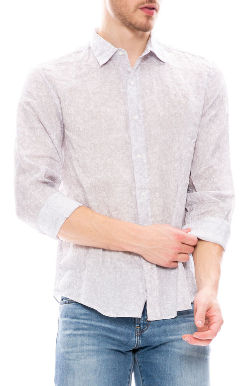Frank & Eileen Mens Paul Linen Shirt  in Grey Floral