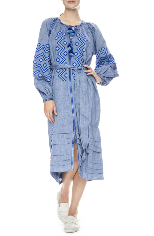 Kilim Denim Blue Midi Dress