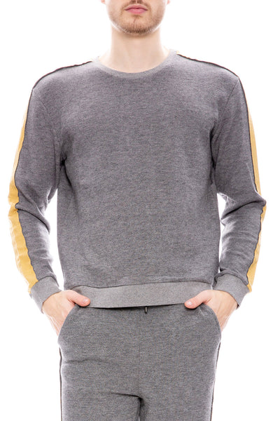 Lot 78 Mens Contrast Stripe Sweatshirt in Grey