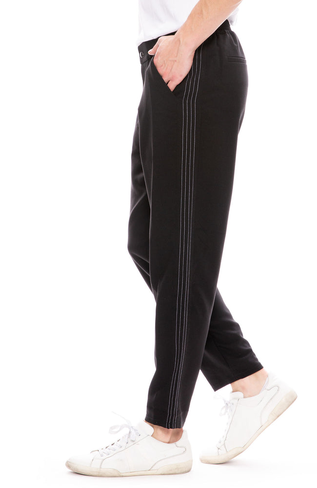 Lot 78 Mens Track Pant with Contrast Stitching in Black