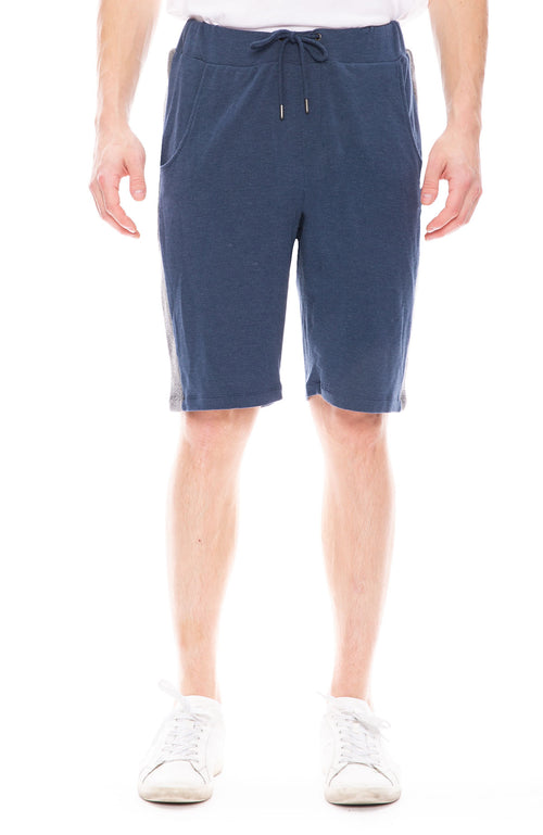 Lot 78 Mens Lux Ribbed Short in Navy with Grey Stripes
