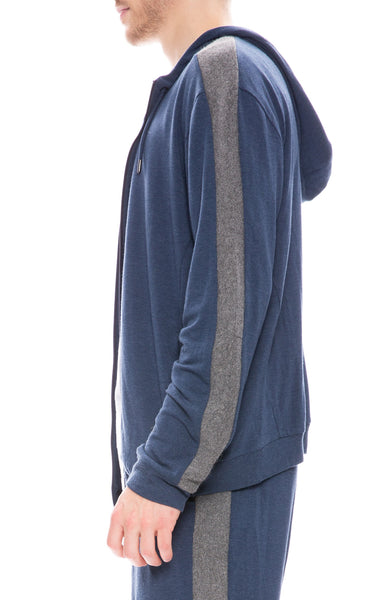Lot 78 Mens Lux Ribbed Hoodie in Navy / Grey