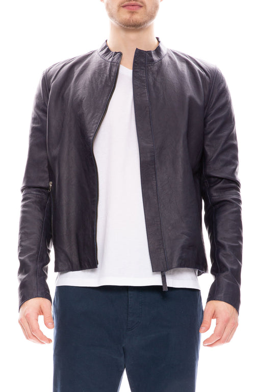 Lot 78 Mens Distressed Leather Jacket in Navy