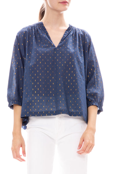 Star Mela Navy Kira Top with Metallic Gold Detailing