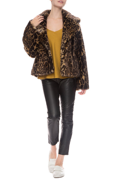Nili Lotan Sedella Faux Leopard Fur Coat with Leather East Hampton Pants