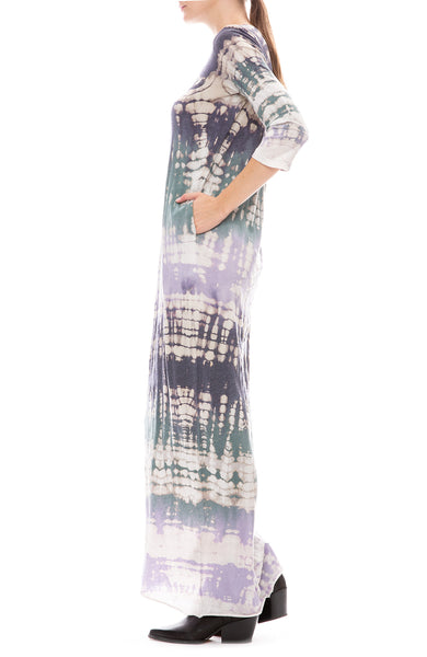 Raquel Allegra Womens Violet Tie-Dye Jersey Half Sleeve Long Caftan Side View