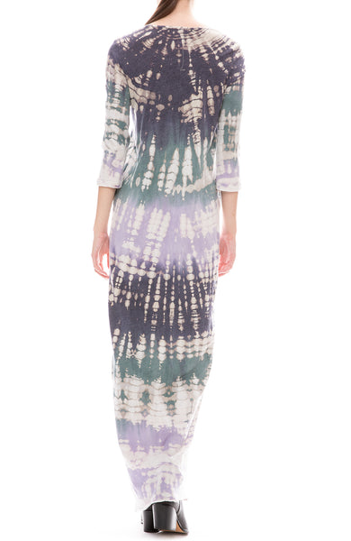 Raquel Allegra Womens Violet Tie-Dye Jersey Half Sleeve Long Caftan Back View