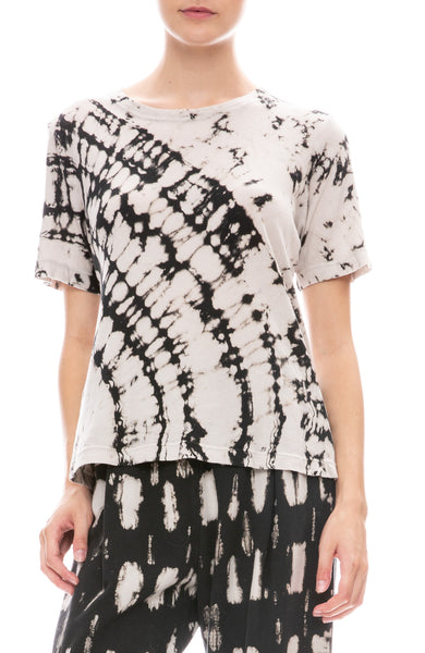 Raquel Allegra Womens Boxy Ivory and Black Tie Dye T-Shirt