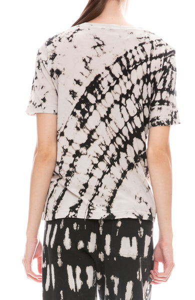 Raquel Allegra Womens Boxy Ivory and Black Tie Dye T-Shirt Back View