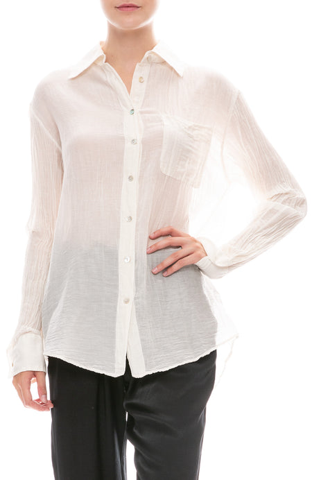 Cotton Voile Button Down Shirt