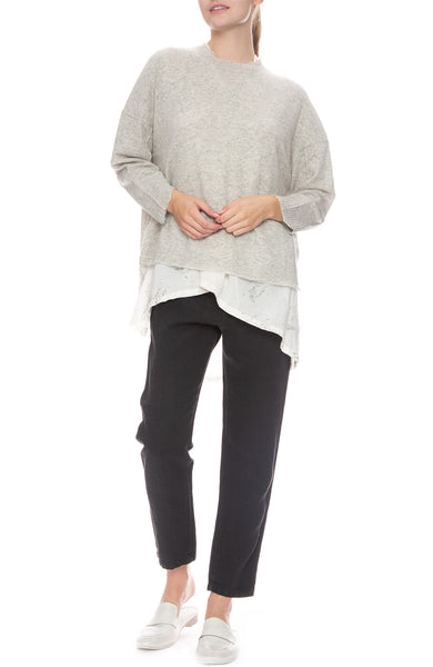 Pas De Calais Grey Cashmere Blend Pullover Sweater with Oversized Blouse and Linen Pants