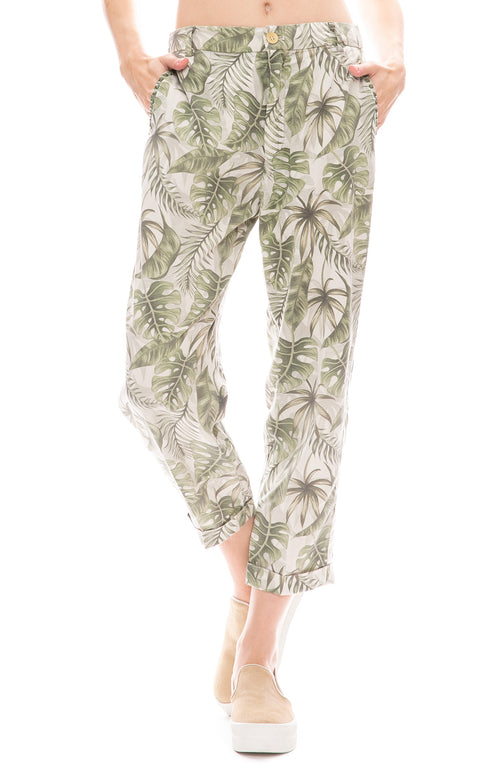 Masons Womens Palm Print Linda Pull on Pants
