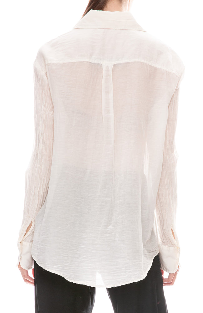 Raquel Allegra Cotton Voile Button Down Shirt in Ivory Back View
