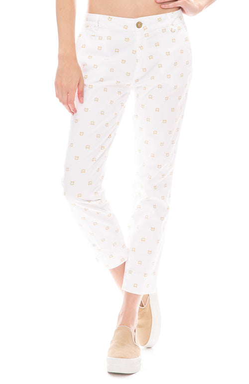 Masons Womens Cherry Print White Trouser Pants