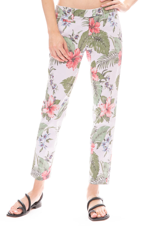 Masons Purple Floral Hibiscus Trouser Pant