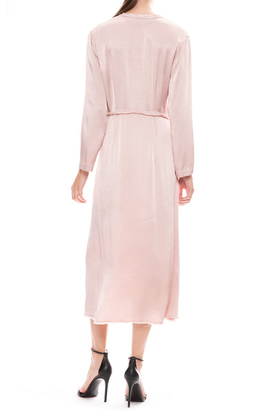Raquel Allegra Camille Long Sleeve Dress in Rose Back View