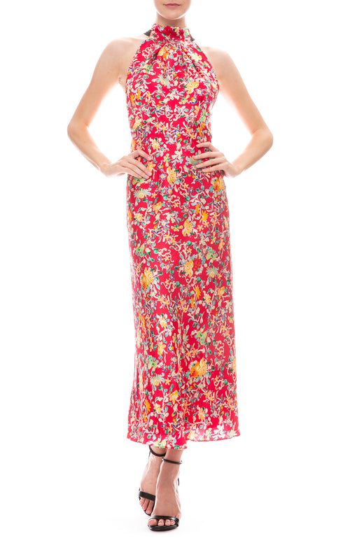 Saloni Michelle Halter Neck Dress in Rouge Ornamenta Floral Print