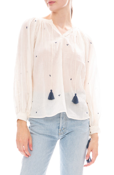 Star Mela Pami Ecru Blouse with Navy Embroidery
