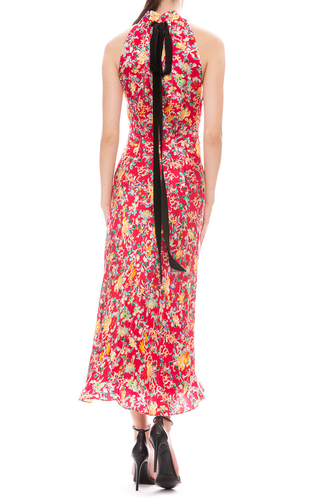 Saloni Michelle Red Floral Print Halter Neck Dress