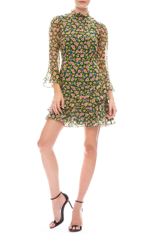 Saloni Marissa Alpine Bouquet Print Mini Dress