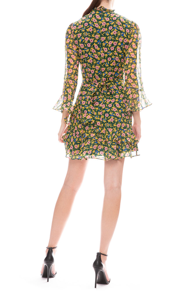 Saloni Marissa Alpine Bouquet Print Mini Dress Back View