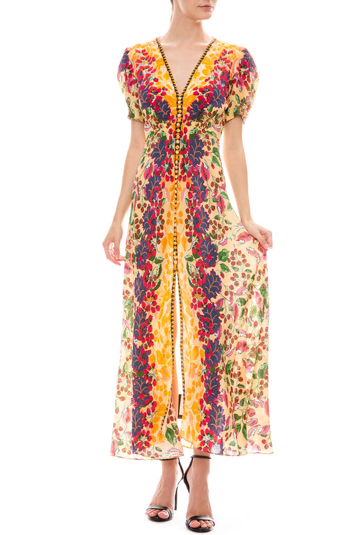 Saloni Lea Long Dress in Champagne Berries Print