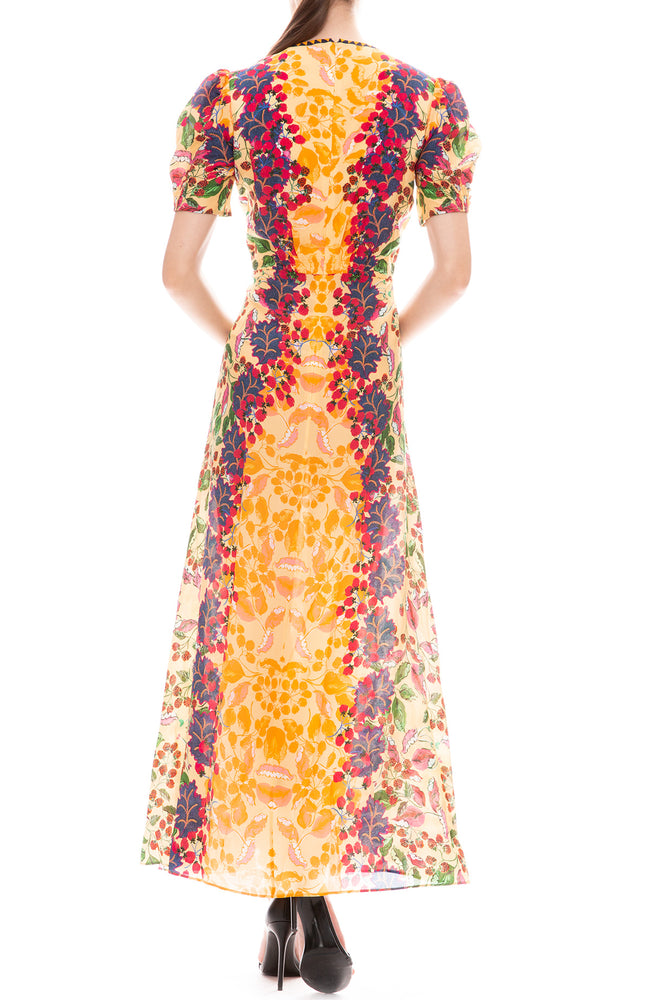 Saloni Lea Long Dress in Champagne Berries Print Back View