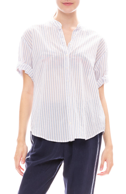 Xirena Kayden Striped Roll Sleeve Top in Celeste