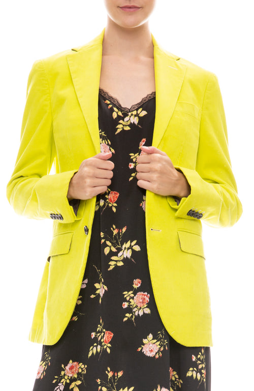 R13 Womans Corduroy Boyfriend Blazer in Lime Green