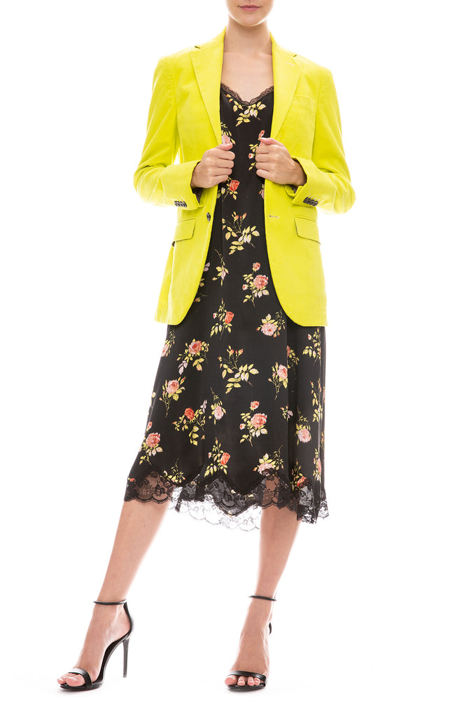 R13 Womans Corduroy Boyfriend Blazer in Lime Green with R13 Lace Back Slip Dress